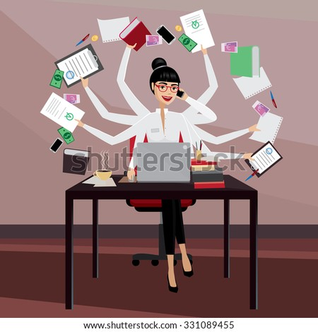 stock-vector-multitasking-business-woman-working-in-the-workplace-331089455.jpg