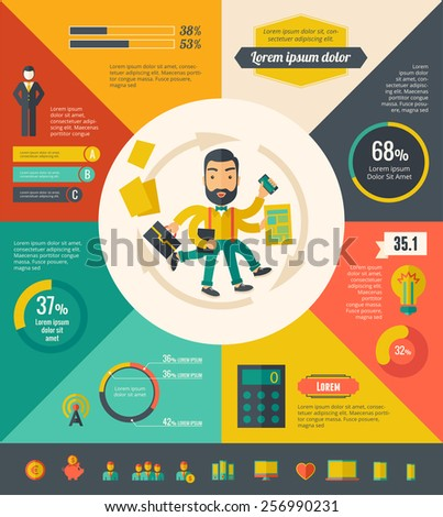 Multitasking Infographic Elements - stock vector