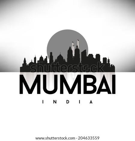 Mumbai India, Black Skyline Design, vector illustration. - stock vector