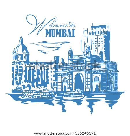 mumbai india gate taj mahal hotel stock vector royalty free rh shutterstock com Gate White Background Gate White Background