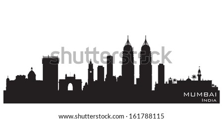 Mumbai India skyline Detailed vector silhouette - stock vector