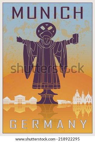 Munich Vintage poster in orange and blue textured background with skyilne in white