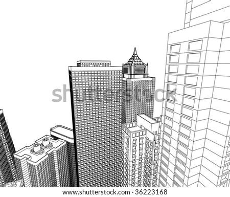 municipal buildings, black and white style - stock vector