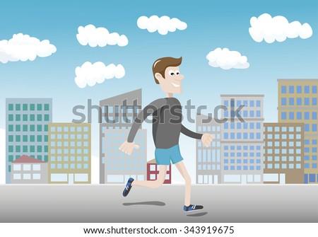 Municipal jogging is not healthy - running man - stock vector