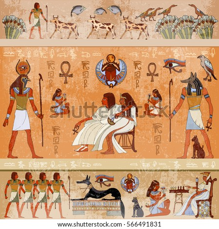 Nefertiti stock images royalty free images vectors for Egyptian fresco mural painting