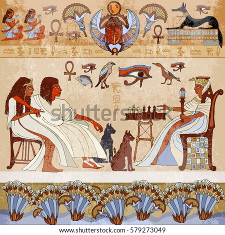 Nefertiti stock images royalty free images vectors for Ancient egyptian mural