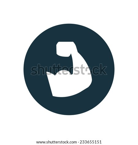 muscle arm icon on white background  - stock vector