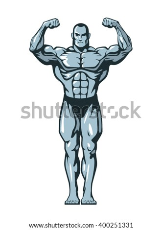 Muscle bodybuilder man  flexing his muscles. Vector illustration.