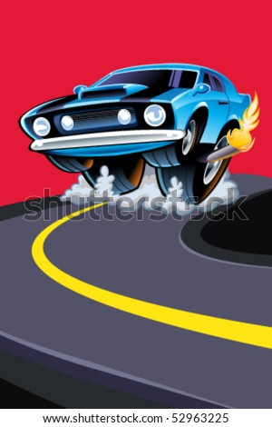 Muscle Car Burning Rubber - stock vector