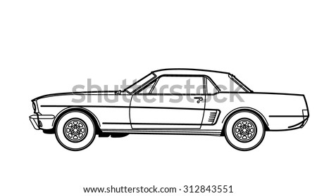 Muscle Car drawing - stock vector