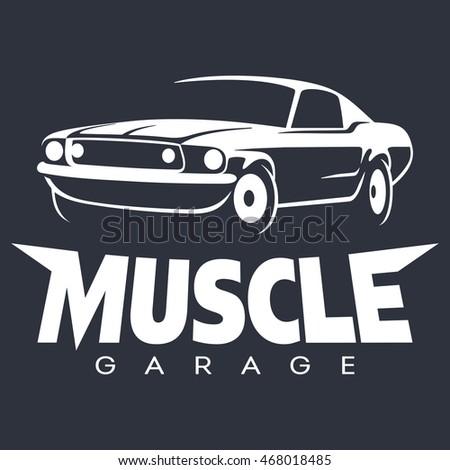 Muscle Car Garage Black Logo Vector Stock Vector