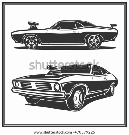 Muscle car vector poster logo illustration