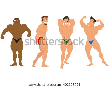 muscle man showing his muscles. Fitness models, posing, bodybuilding. muscle man isolated on white background.  - stock vector