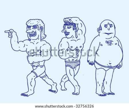 Muscle Men and Chubby Hubby - Vector Illustration - stock vector