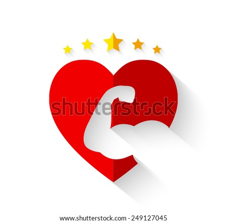 Muscular arm on heart shape with crown of stars and long shadow - strong hearts or love fitness concept - stock vector