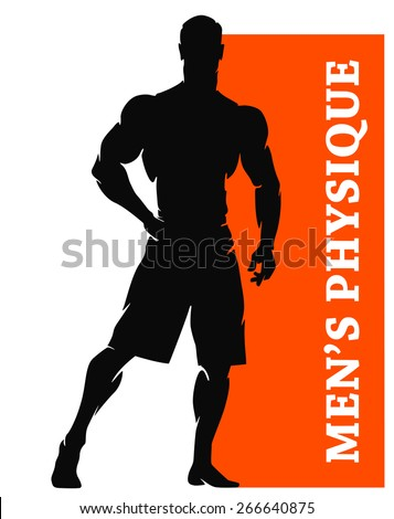 Muscular Man Silhouette Lifting Weights. Fitness icon - stock vector