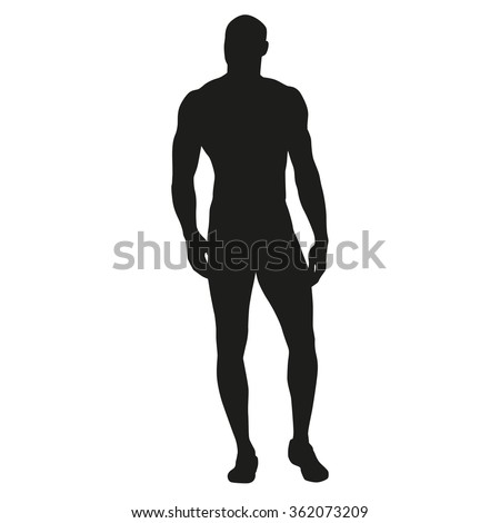 Muscular man stands, rippling athlete, sprinter, hero. Vector silhouette - stock vector