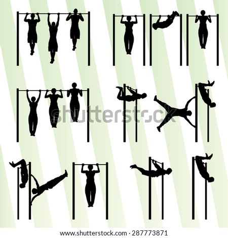Muscular men doing pull ups bodybuilding fitness set vector background concept