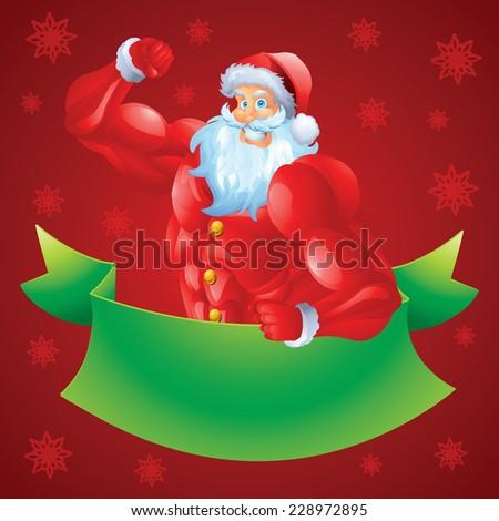Muscular santa christmas card - stock vector