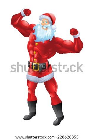 Muscular santa claus posing biceps - stock vector