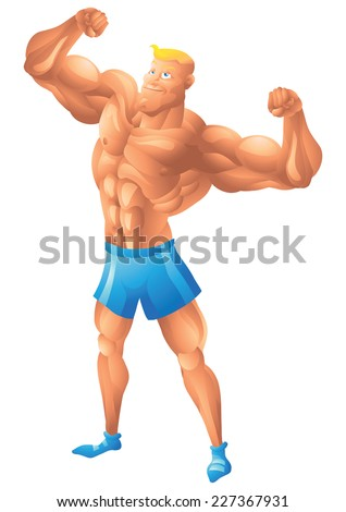 Muscular white guy posing biceps - stock vector