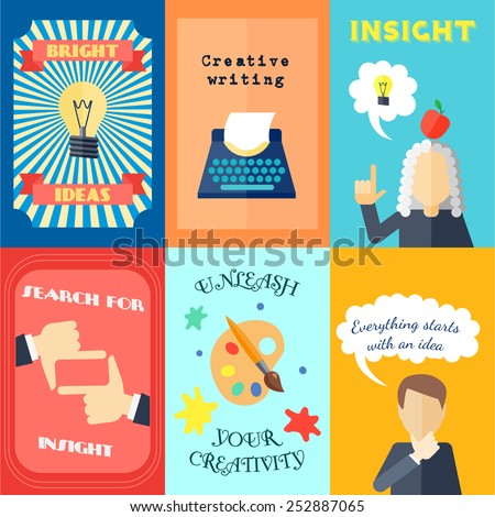 Muse bright ideas creative writing and insights mini poster set isolated vector illustration - stock vector