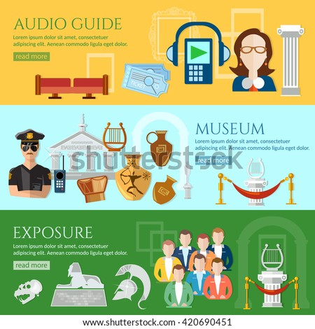 Museum banner tour guide group of tourists gallery people museum history and culture of civilization vector - stock vector