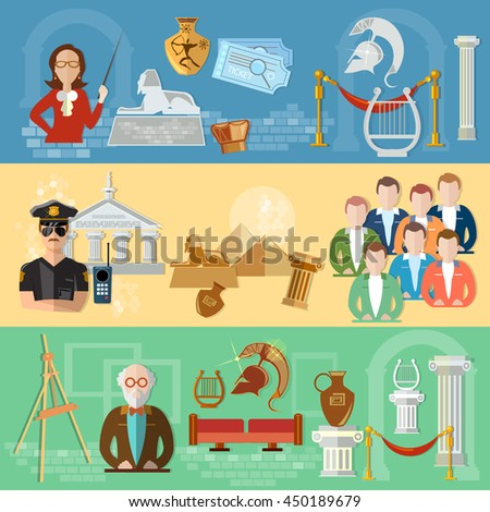 Museum banners tour group of tourists gallery history and culture of civilization guide museum vector illustration - stock vector