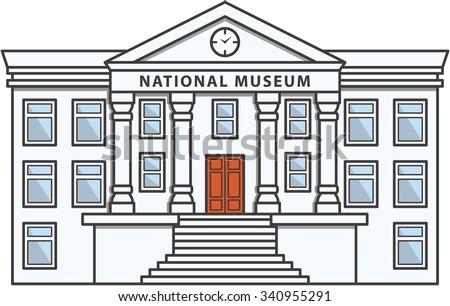 Museum Building Doodle Illustration cartoon - stock vector