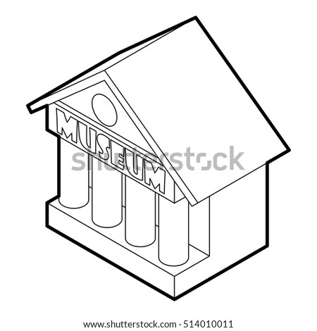 Museum building icon in outline style on a white background vector illustration