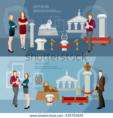 Museum exposition banner people visiting antique museum excursion people in the art museum vector illustration - stock vector
