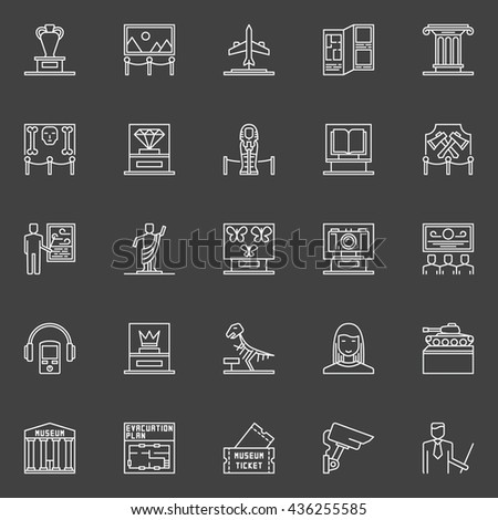 Museum linear icons set. Vector collection of exhibition and museum symbols or logo elements on dark background - stock vector