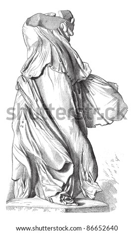 Museum of Louvre; Sculpture. - The Victory of Samothrace. - Drawing Chevingnard, vintage engraved illustration. The Winged Victory of Samothrace or Nike of Samothrace, Magasin Pittoresque 1874. - stock vector