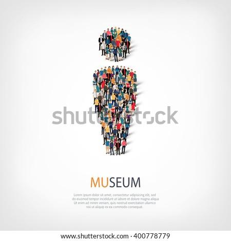 museum people symbol - stock vector