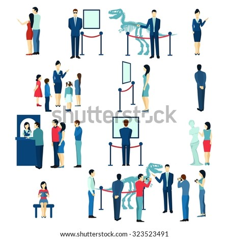 Museum visitors children and adults buying tickets for guided tour flat icons collection abstract isolated vector illustration - stock vector