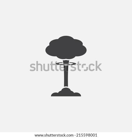 Mushroom cloud, nuclear explosion, silhouette - stock vector