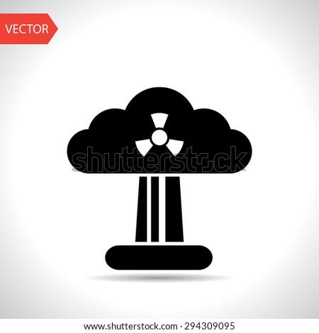 Mushroom cloud, nuclear explosion, silhouette, vector - stock vector