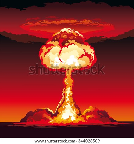 Mushroom Cloud of Nuclear Explosion - stock vector