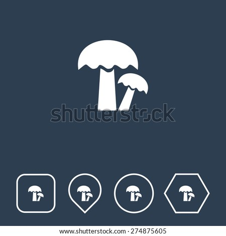 Mushroom Icon on Flat UI Colors with Different Shapes. Eps-10. - stock vector