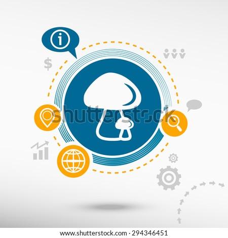 Mushrooms icon and creative design elements. Flat design concept  - stock vector
