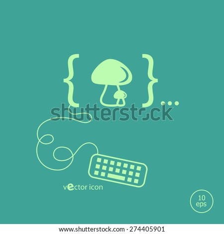 Mushrooms icon and flat design elements. Design concept icons for application development, web page coding and programming,  web design, creative process, social media, seo - stock vector