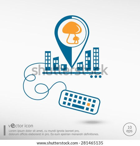 Mushrooms icon and keyboard. Line icons for application development, creative process. - stock vector