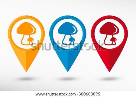 Mushrooms icon map pointer, vector illustration. Flat design style - stock vector