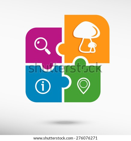 Mushrooms icon on colorful jigsaw puzzle  - stock vector