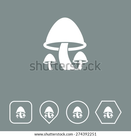 Mushrooms Icon on Flat UI Colors with Different Shapes. Eps-10. - stock vector