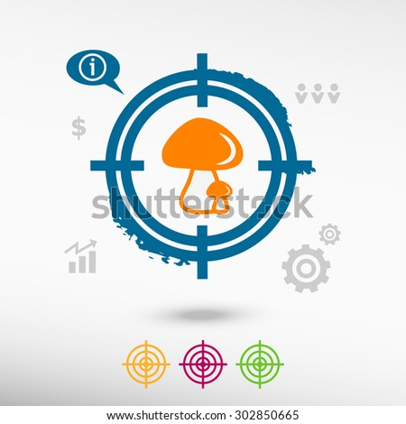 Mushrooms icon on target icons background. Flat illustration. - stock vector