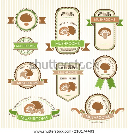 Mushrooms labels. Vegetables color labels collection.  - stock vector