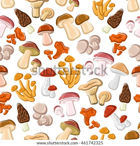 Mushrooms seamless pattern background. Champignon, lactarius, boletus, chanterelle morel graphic elements