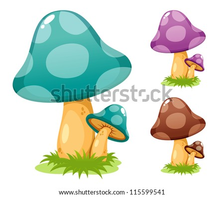 Mushrooms vector illustrations - stock vector