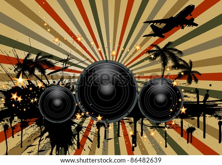 Musial grunge background. Vector illustration. - stock vector